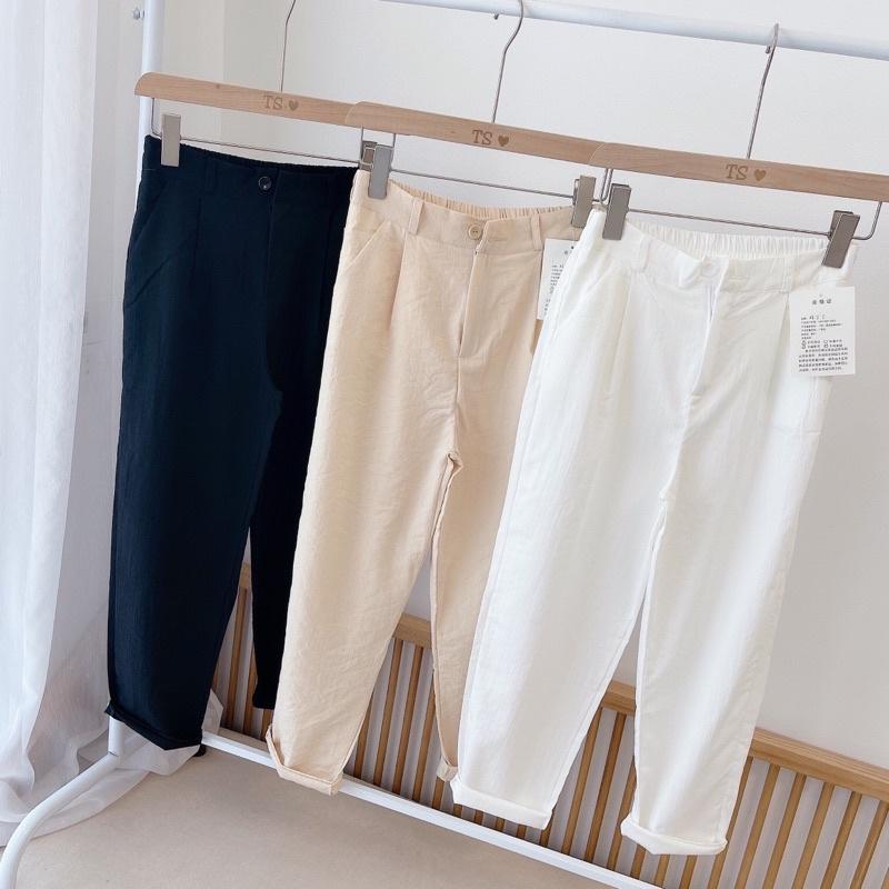 Quần baggy nữ [Video + Ảnh thật] quần dài đũi, quần baggy đũi lưng chun có khoá chất đũi Nhật cao cấp