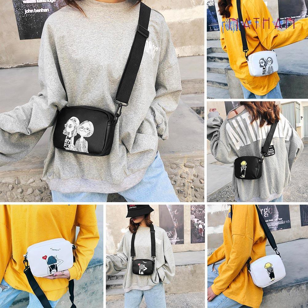 nathan fashion❀Cartoon Printing Square Handbags Women PU Leather Crossbody Bags
