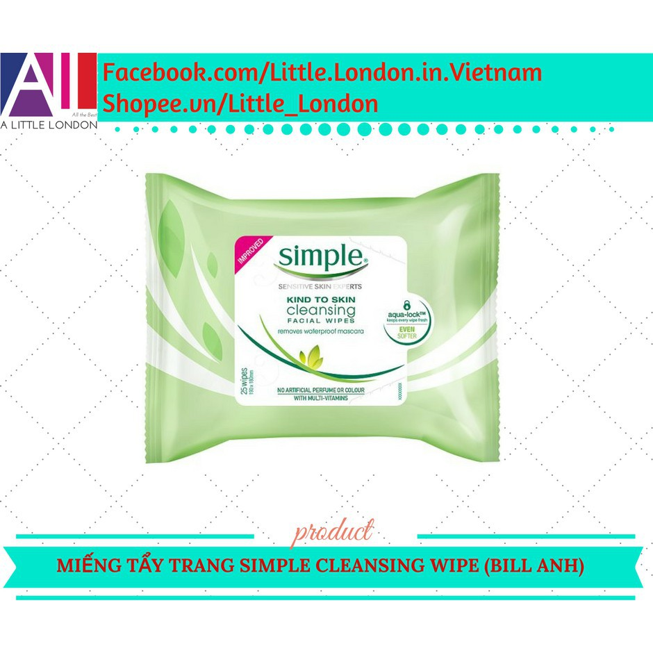 [Đẹp] Giấy tẩy trang Simple Kind to Skin Cleansing Wipe (Bill Anh) [Đẹp]