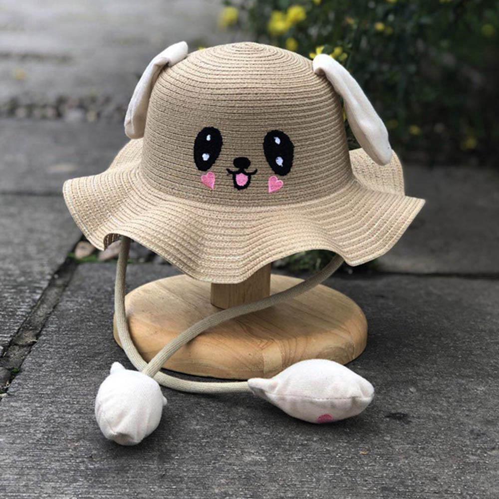 Moving Rabbit Ears Straw Hat Kids Fisherman Hat Baby Summer Sun Hat