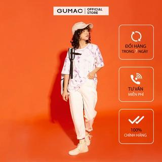 Quần Baggy nữ chạy gân GUMAC màu trắng, đủ size, thiết kế basic, phong cách Hàn Quốc, năng động, trẻ trung QJA12186 thumbnail