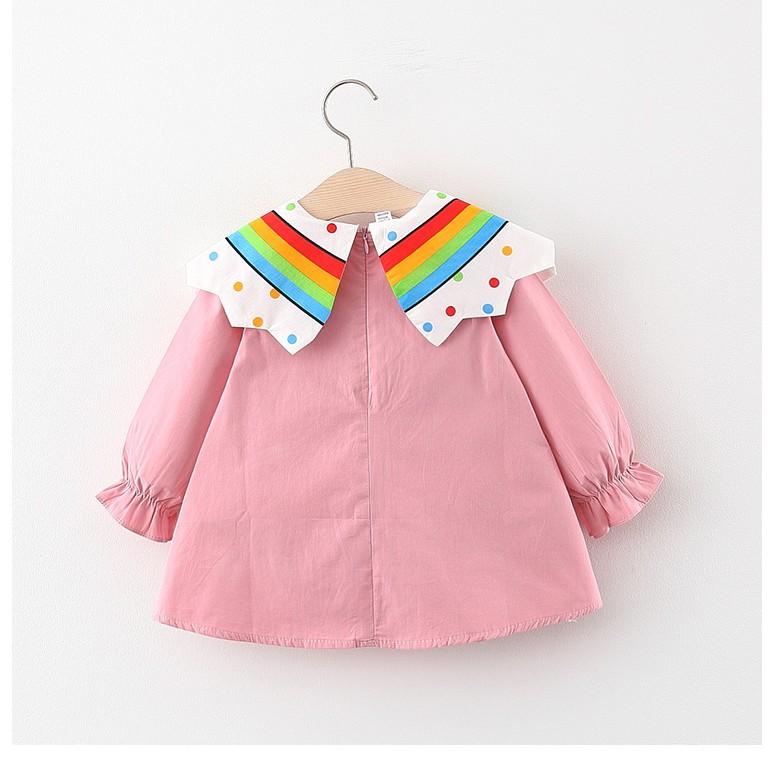 Váy cho bé gái - Váy xòe babydoll Smartkids cổ thủy thủ họa tiết cầu vồng vải mềm mại TE2580
