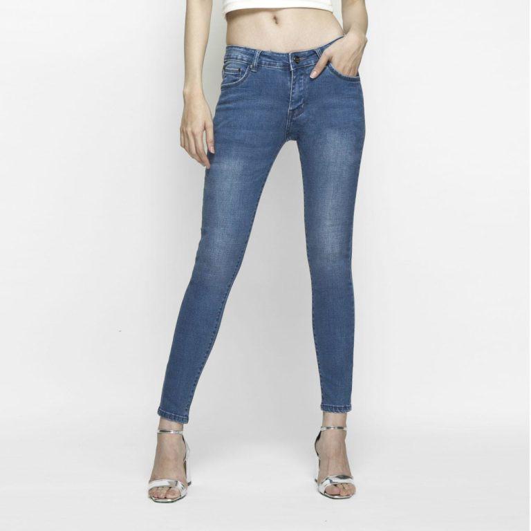 Quần Jeans Nữ Skinny Xanh Biển Lưng Vừa