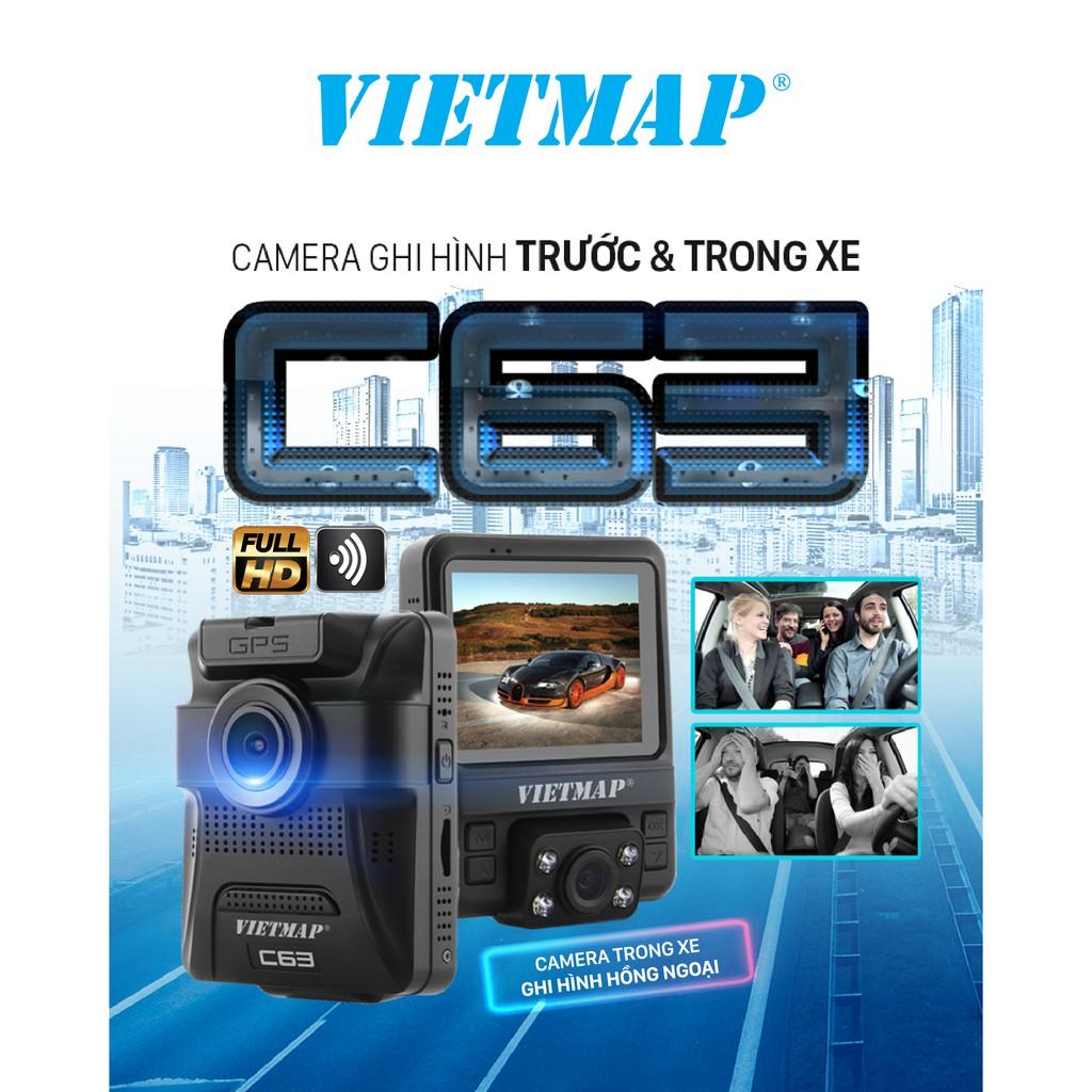 [Mã ELMALL10 giảm 10% đơn 299K] Camera Hành Trình Ô tô VietMap C63 Ghi Hình Trước Và Trong Xe