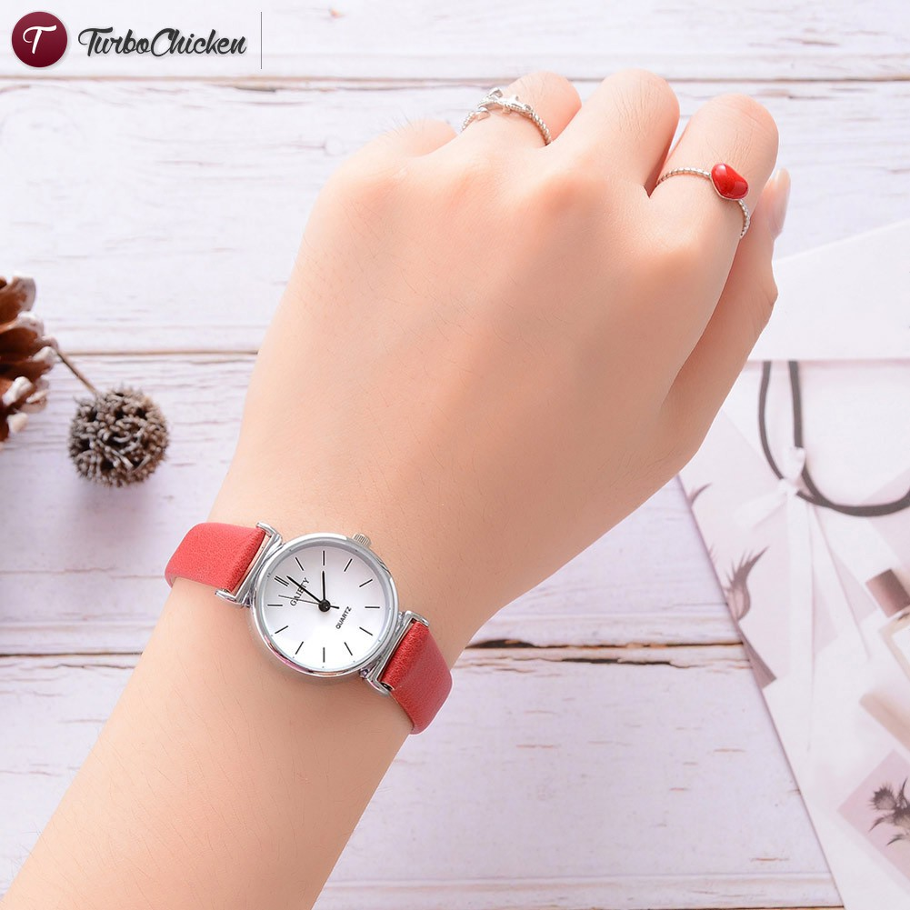 T⋄ Women Classic Quartz Wrist Watch with PU Leather Strap Simple Style Casual Watch
