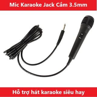 Mic hát karaoke có dây jack chân cắm 3.5mm , áp dụng với dòng loa karaoke có jack 3.5 và hỗ trợ hát karaoke - XSmart