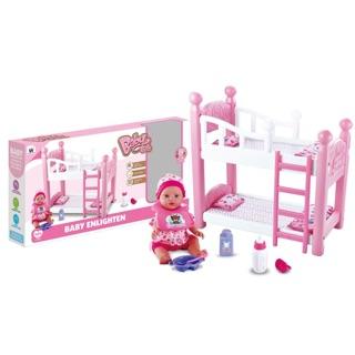 Bộ đồ chơi búp bê và giường 2 tầng