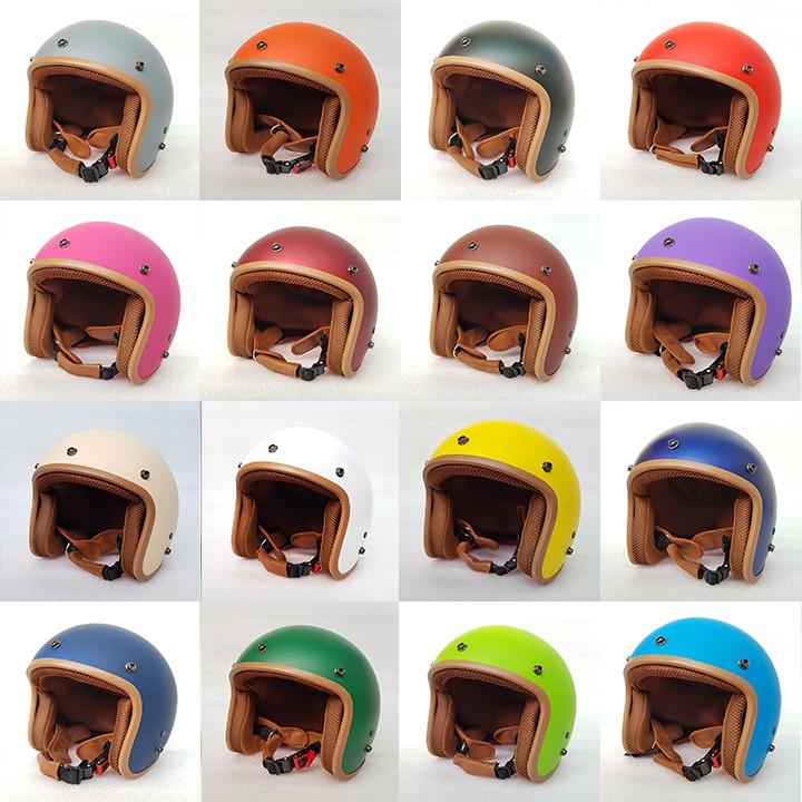 [ Hình Thật - 16 Màu ] Mũ Bảo Hiểm 3/4 đầu Lót Nâu Cao Cấp Như Hình - Hàng CTY-Cam Kết Chất Lượng Giống Hình 100%