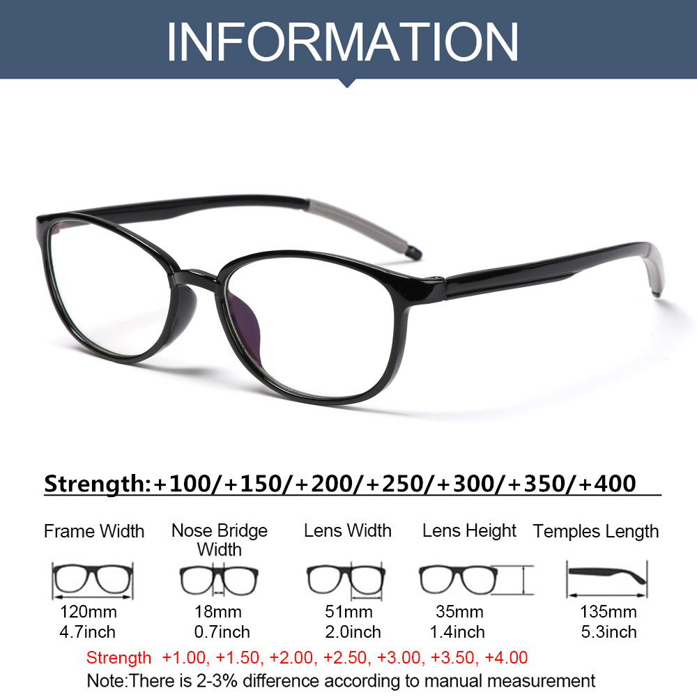 CLEVER Women Men Reading Glasses Comfortable Ultra Light Frame Anti-Blue Light Eyeglasses Portable Antifatigue Fashion Vintage Eye Protection/Multicolor