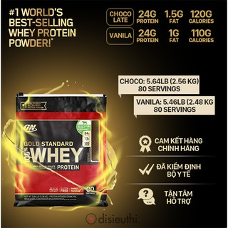 Whey Protein Isolate Bột Tăng Cơ Whey Protein Whey On Optimum Nutrition Gold Standard 100% 80 Servings 2.48kg-2.56kg thumbnail