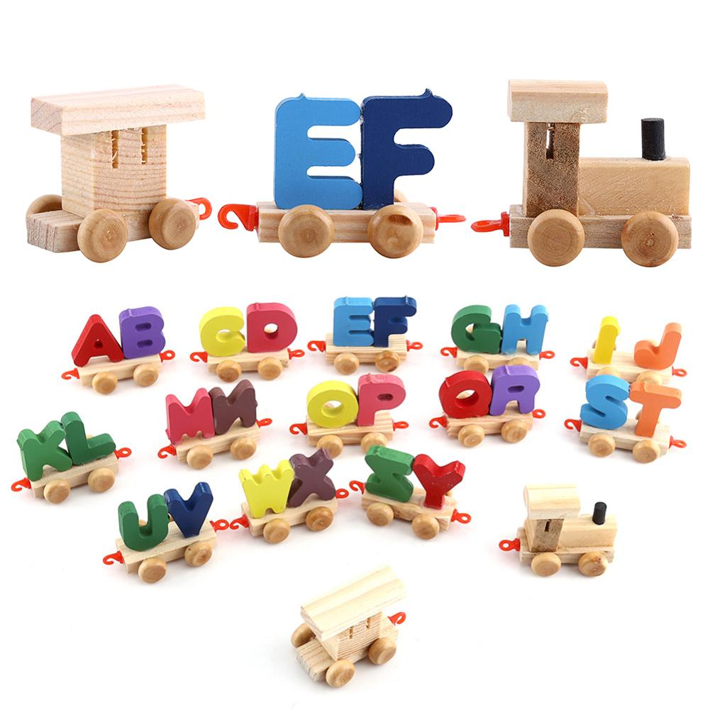 Wooden Train Figure Model Toy With Alphabetical Letters Educational Assemble Alphabet
