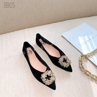 Bệt nữ HHS nỉ đá sao ánh xanh Hà Huyền Shoes - BB125