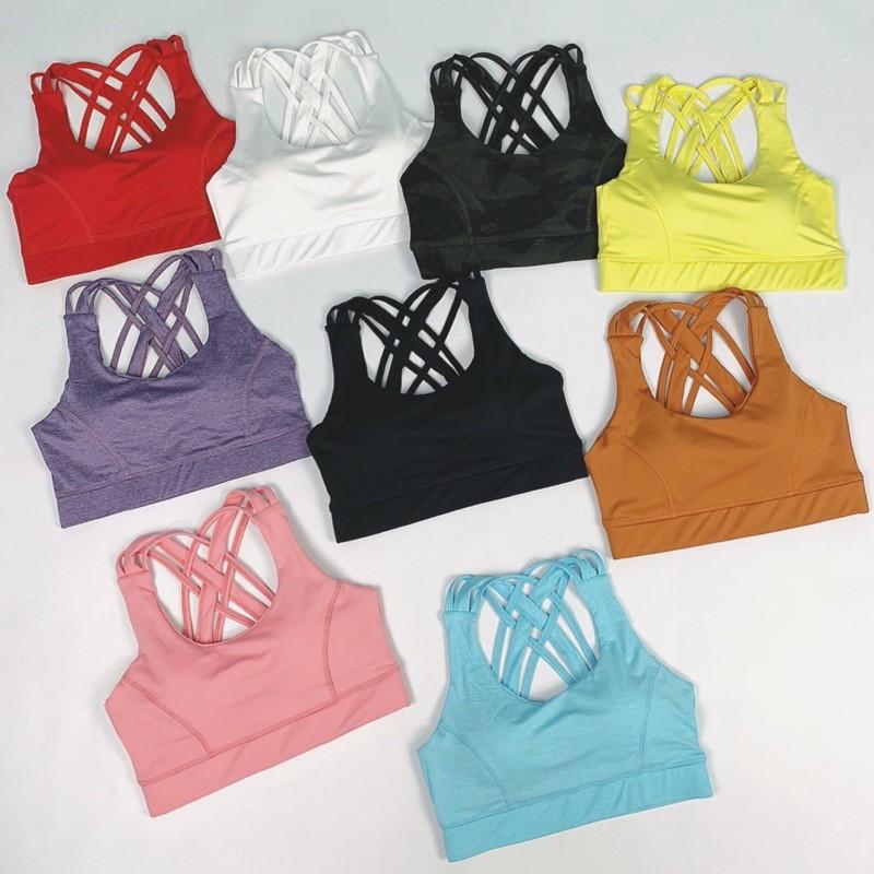 Áo bra thể thao dây chéo tập gym yoga màu cực tôn da, sẵn mút nâng ngực chống chảy xệ