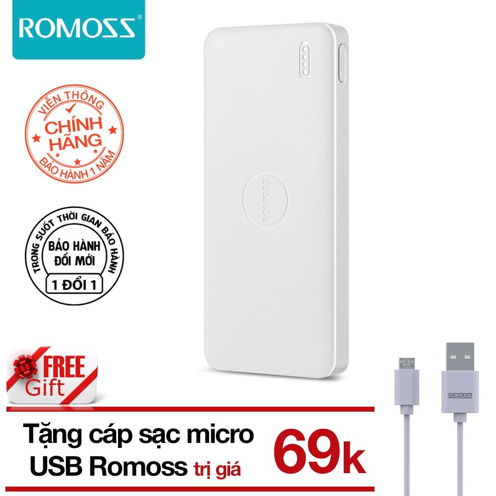 Pin sạc dự phòng 10000mAh Polymos 10 Air ROMOSS (Trắng) tặng Cáp sạc micro USB Romoss - Hãng phân ph