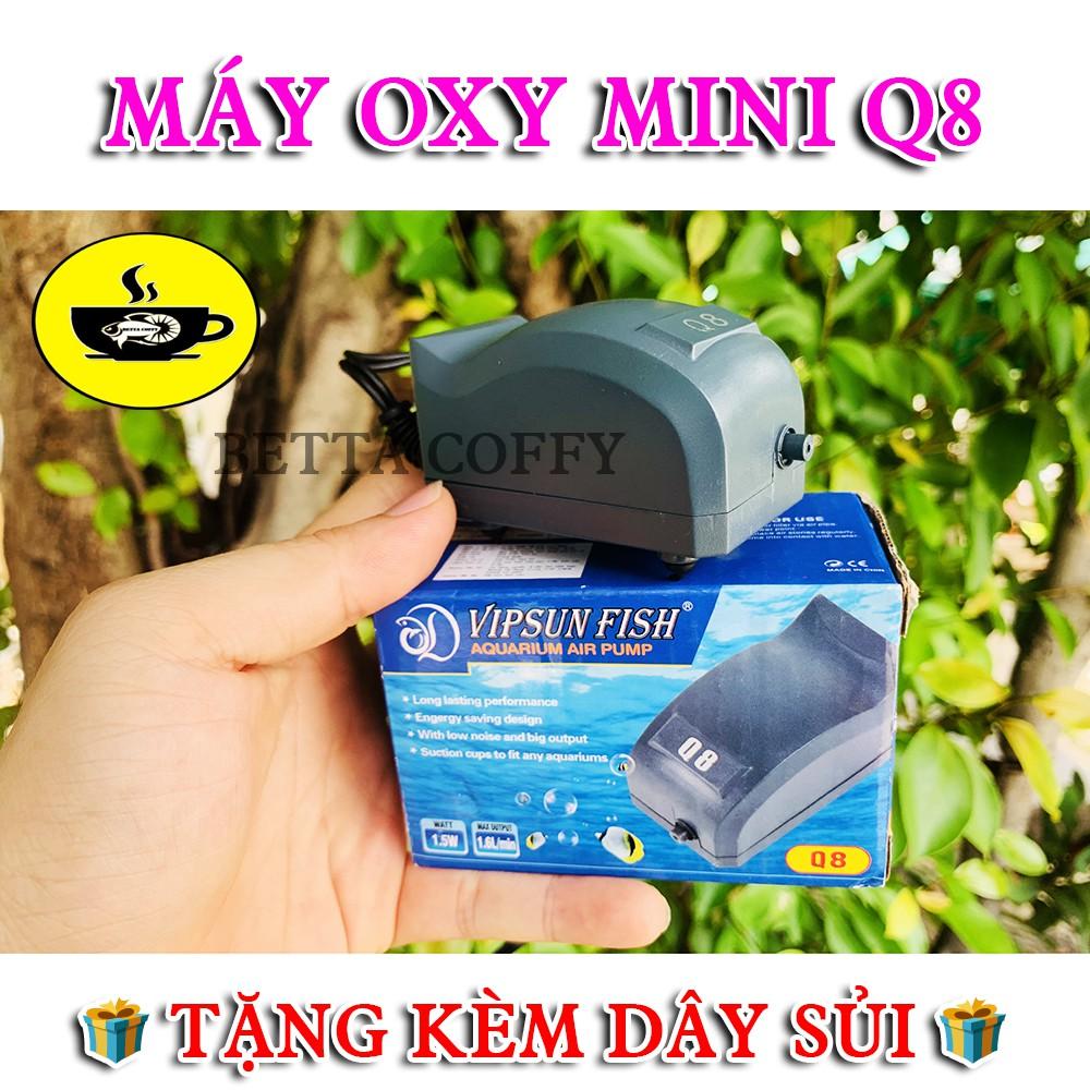 ❄️ Máy bơm oxy hồ cá 1 Vòi VIPSUN FISH - Q8 mini (Tặng 1m dây + 1 viên đá sủi oxi)