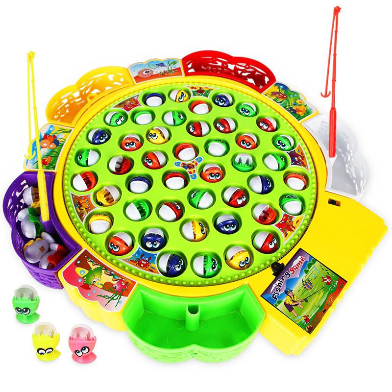 Electric fishing toy rotary fishing tackle set for children