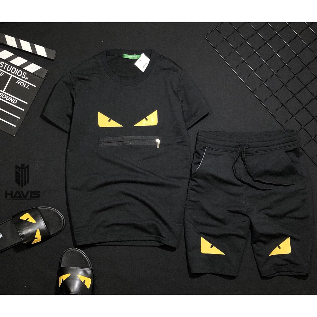 Set bộ quần áo nam Hàn Quốc phối logo cực đẹp Bộ thể thao