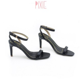Giày Sandal Cao Gót 7cm Quai Mảnh Gót Nhọn Màu Đen Pixie P131