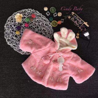 Áo choàng lông có nón màu hồng bé gái 1t đến 5 tuổi thumbnail