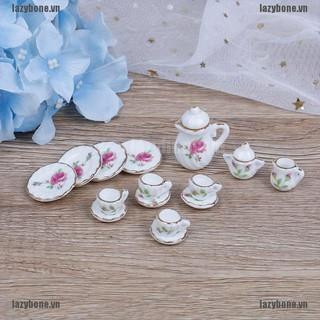 Bộ 15 món tách bình uống trà gốm tỉ lệ 1 12 cho nhà búp bê thumbnail