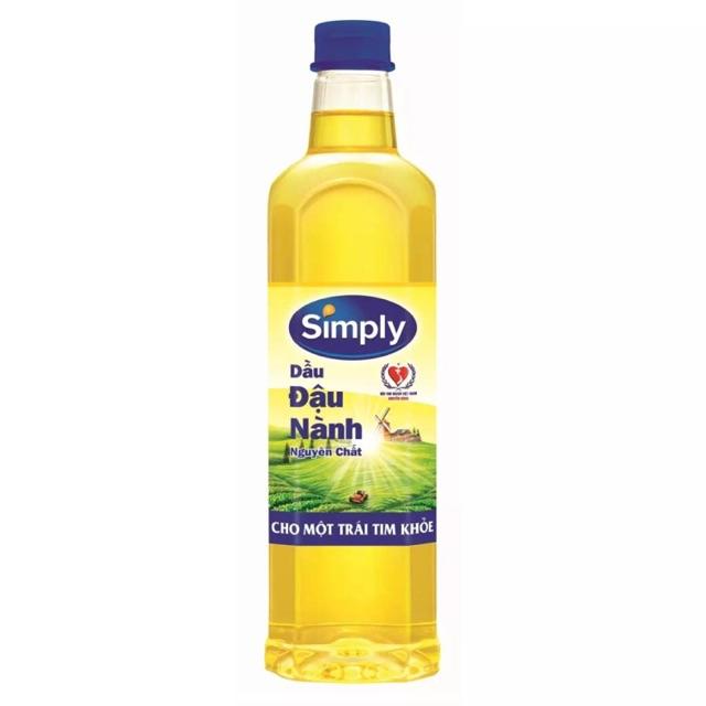 Chai dầu ăn simply dầu đậu nành1L