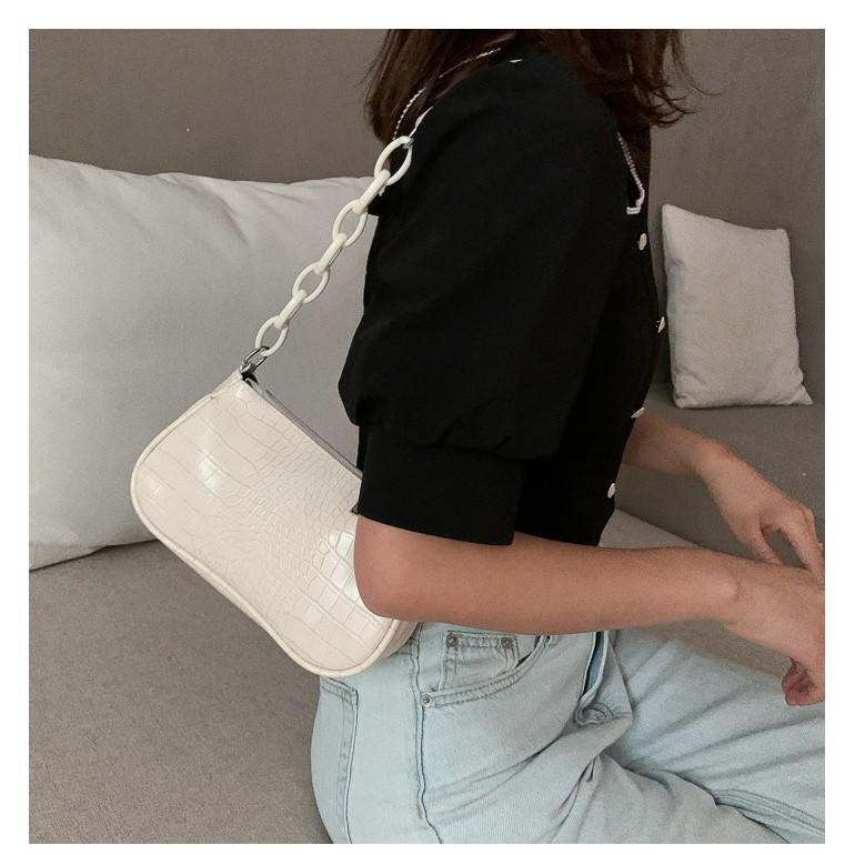 Túi kep nách phối xích TN819, túi xách nữ chất liệu da PU dập vân trẻ trung, sang trọng