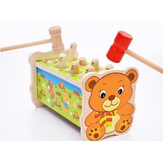 Đồ chơi gỗ- Đập chuột gấu 2 búa