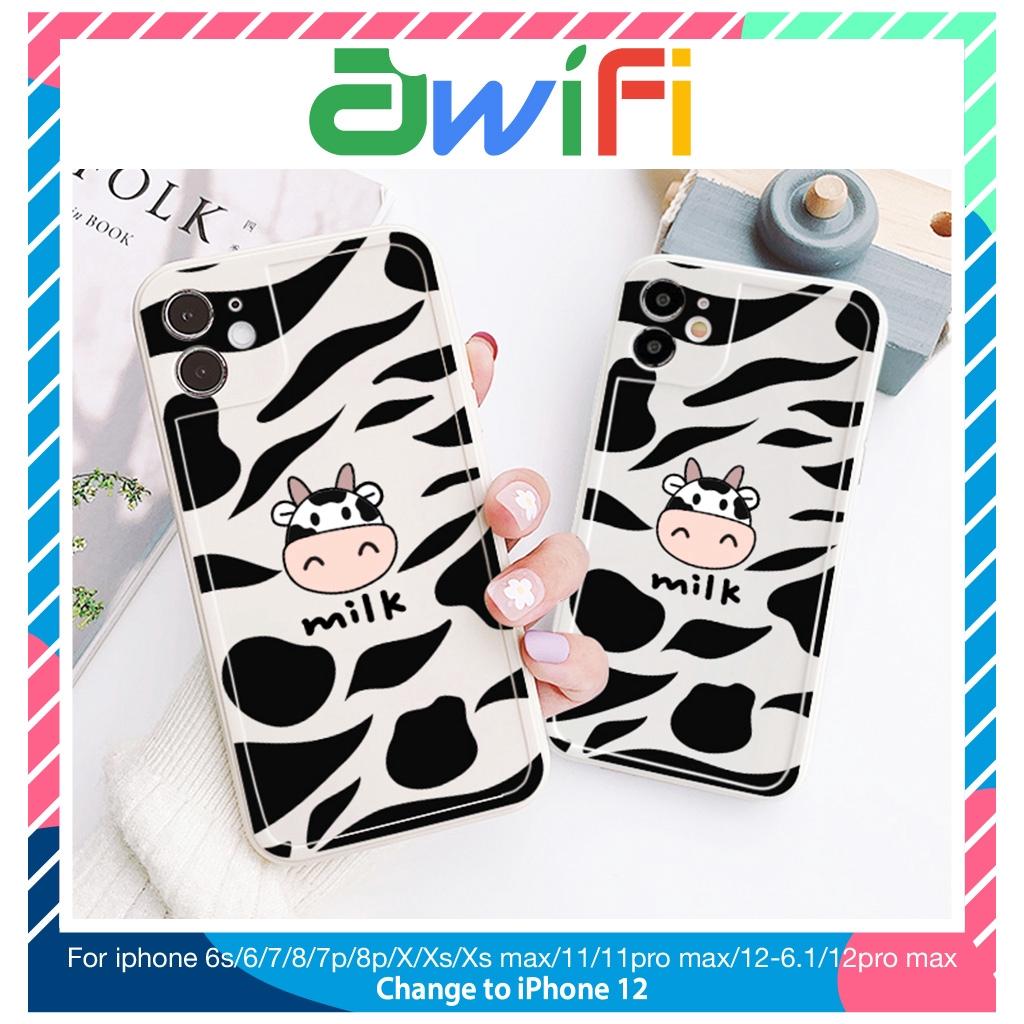 Ốp lưng iphone viền nổi bò sữa milk 5s/6/6plus/6s/6splus/7/7plus/8/8plus/x/xr/xs/11/12/pro/max/plus/promax - Awifi G3-7