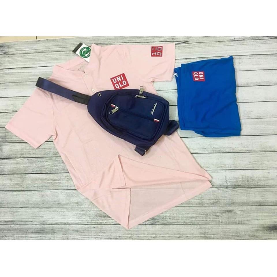 Bộ quần áo thể thao uniqlo màu hồng cánh sen hot nhất hè 2021,bộ quần áo tennis hàng cao cấp