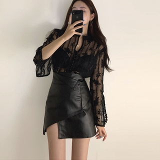 Black New High Waist Slimming Leather Skirt SkirtpuLeather Tight Sexy Skirt