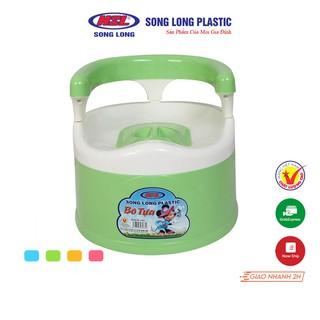 Bô vệ sinh tựa lưng có nắp đậy Song Long Plastic cho bé từ 12 tháng – 2134