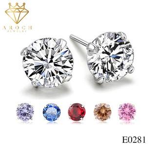Khuyên tai bạc Ý s925 mặt đá Zircon nhiều màu E0281 - AROCH Jewelry