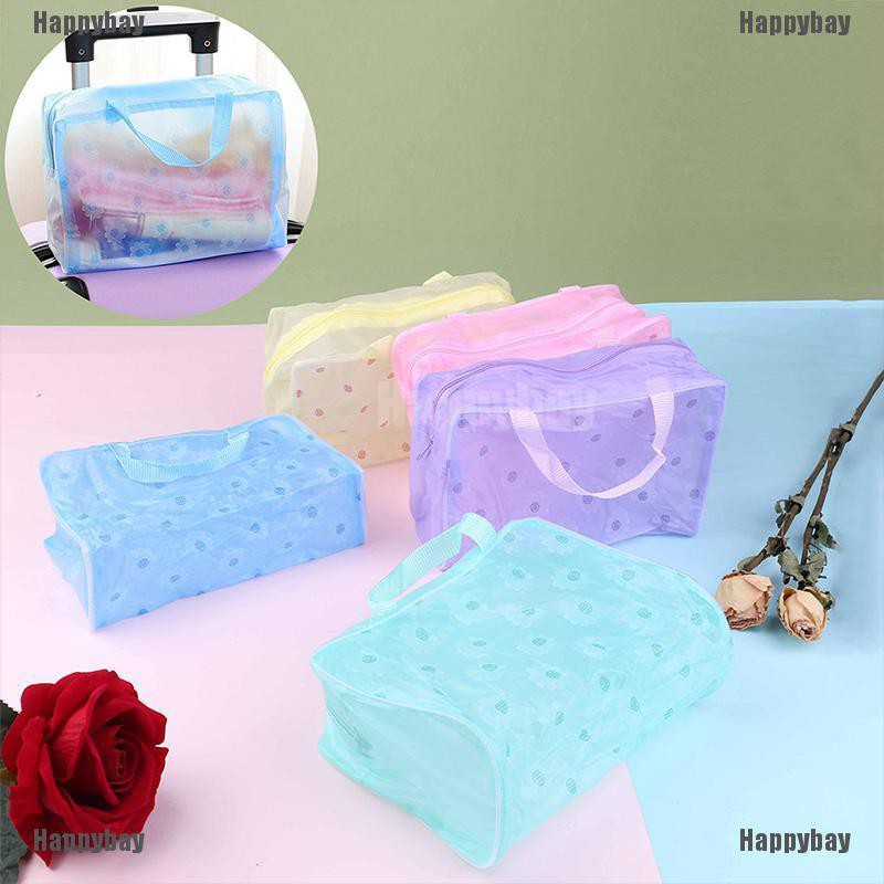 Happybay Clear Transparent Plastic PVC Travel Makeup Bag Cosmetic Toiletry Zip Bag Pouch