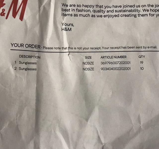 Kính H&M săn sale Uk - có bill