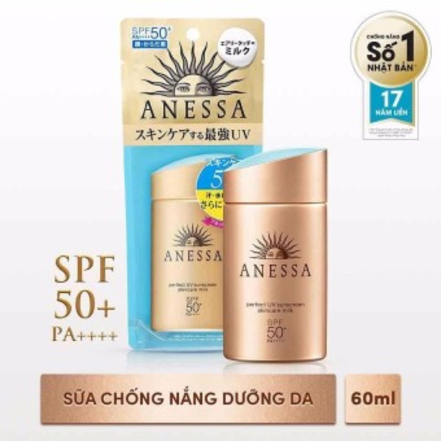 Sữa chống nắng bảo vệ hoàn hảo Anessa Perfect UV Sunscreen Skincare Milk ; SPF 50+, PA++++; 60ml - 3527216 , 956704158 , 322_956704158 , 625000 , Sua-chong-nang-bao-ve-hoan-hao-Anessa-Perfect-UV-Sunscreen-Skincare-Milk-SPF-50-PA-60ml-322_956704158 , shopee.vn , Sữa chống nắng bảo vệ hoàn hảo Anessa Perfect UV Sunscreen Skincare Milk ; SPF 50+, PA+