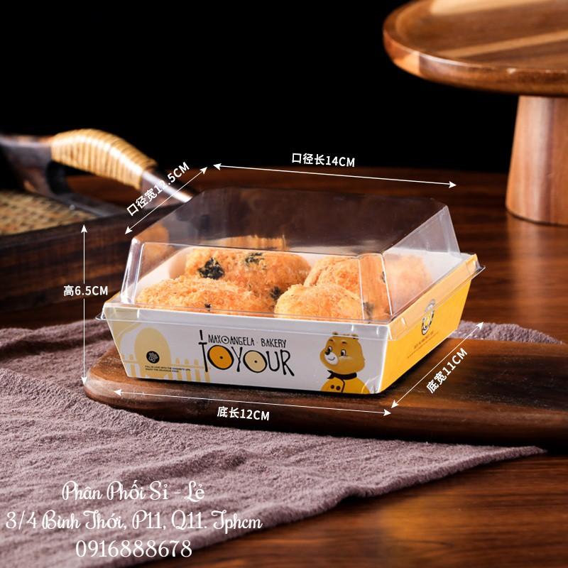 (Gấu Vàng   1413) Hộp Kraft Vuông Nắp Trong (Set 50)