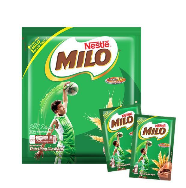 Thức uống lúa mạch Nestlé MILO 3 trong 1 Bịch 220g (10x22g)