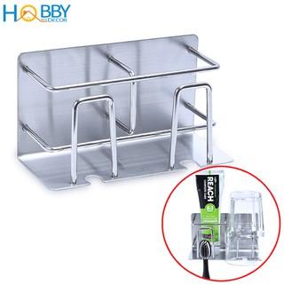 Kệ đựng bàn chải, kem đánh răng 2 ngăn HOBBY CD3 Inox 304 dán tường gạch men – kèm keo dán và không rỉ sét