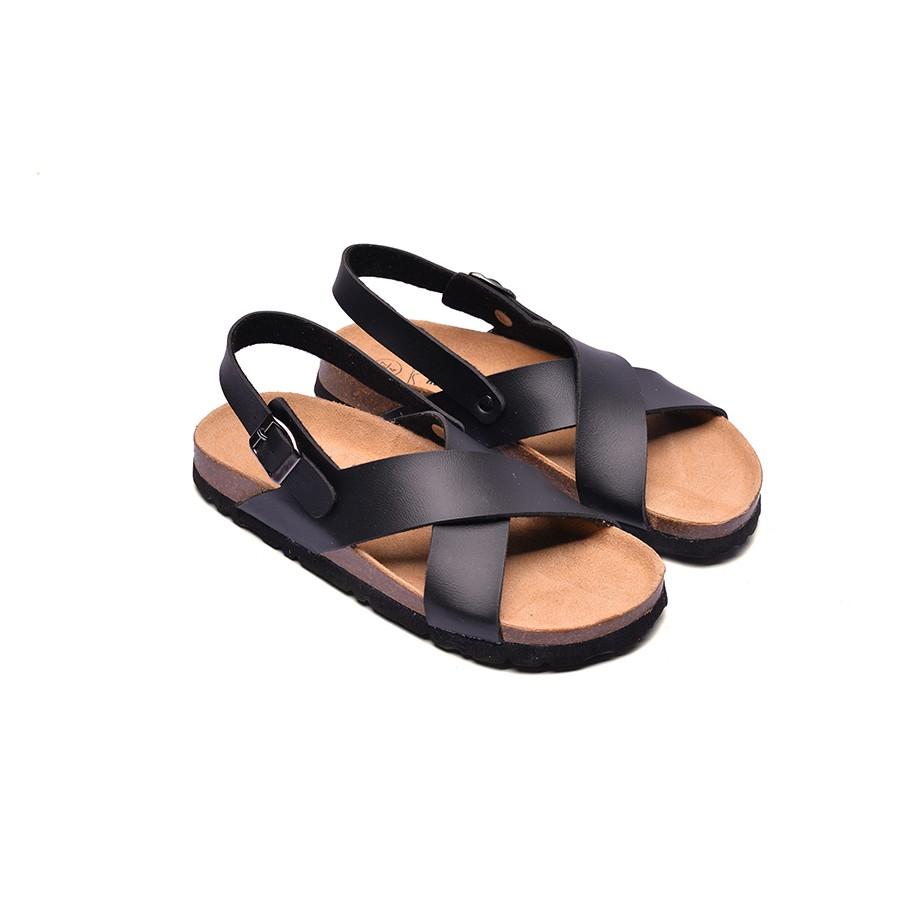 Sandal Huucuong quai chéo đen đế trấu