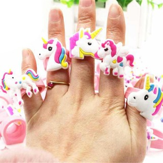 5pcs/set Cartoon Unicorn Rubber Rings Toy Party Bag Fillers Wedding Kids Toys