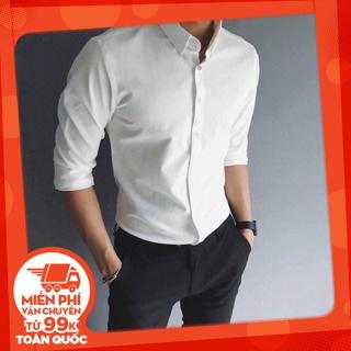 Áo sơ mi trắng nam tay dài form body Hàn