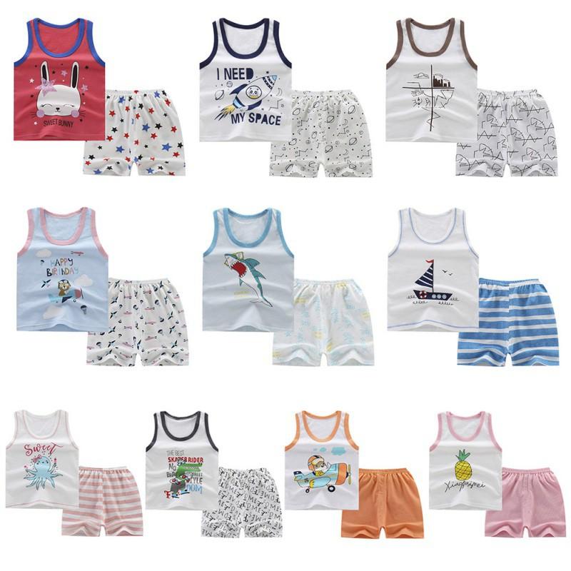 Bộ áo thun sát nách in họa tiết hoạt hình + quần ngắn cho bé trai