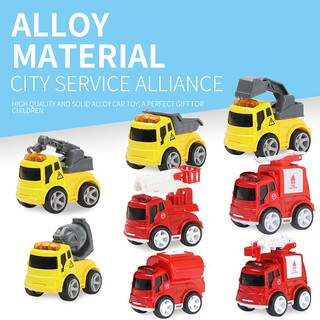 8pcs/set Mini Diecast Car Inertia Alloy Vehicles Model Toy Metal Construction Car Fire Truck Lovely Toys for Kids Gifts