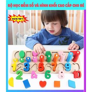 Đồ chơi gỗ bộ học đếm số và hình khối bậc thang 3 IN 1-giúp bé phát triển – Đồ chơi gỗ cao cấp loại 1 cho trẻ.