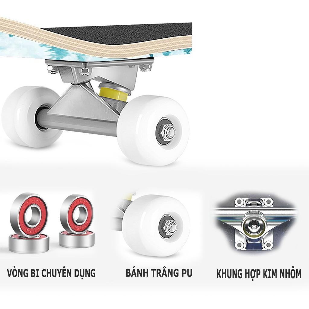 Ván trượt skateboard thể thao chất liệu gỗ phong ép cao cấp 7 lớp mặt nhám