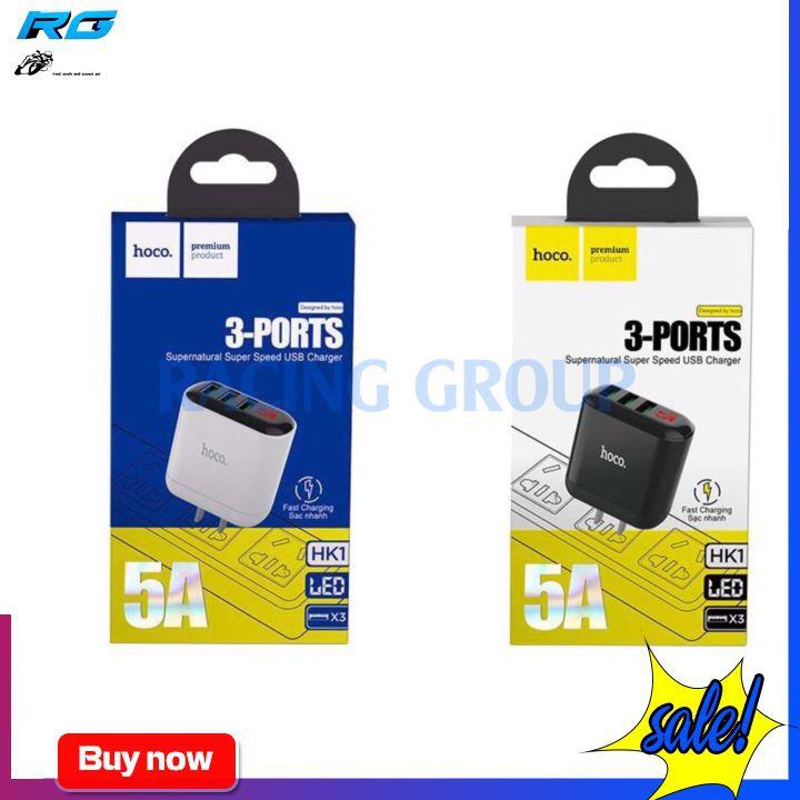 Củ Sạc Nhanh Hoco HK1 Có 3 Cổng USB 5A Có Led Hiển Thị - Bảo Hành 12 Tháng