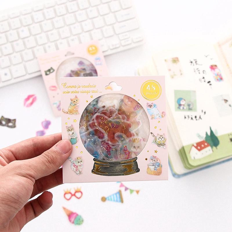 48 Pcs/pack Kawaii PVC Girls Stickers Diary Journal Stationery Creative Alubum Decoration