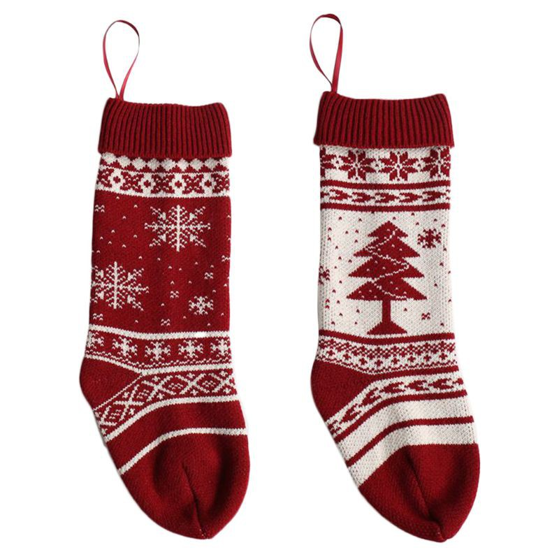 Christmas Hanging Sock Stocking Classic Decoration Candy Bag