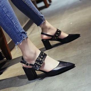 giày cao gót công sở/freeship từ 150k/Giày cao gót quai đính đinh tán gót vuông hàng bao đẹp y hình ( có 2 màu đen, đỏ)