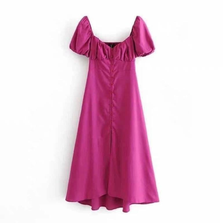 [Mã FAGREEN1505 giảm tới 30K đơn 99K] (Si Tan Goc) Váy Hồng Tay Bồng Chun Ngực Đuôi Cá Dáng Dài